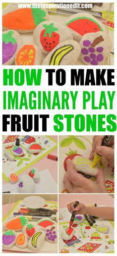 Kids Fruit Activity Idea For The Mud Kitchen Arts and Crafts For Kids summer Fun for kids. Imaginary Play ideas for children.