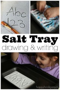 Kids can practice drawing their numbers and letters in a salt tray - Happy Hooligans