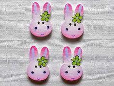 4 Wooden Bunny Buttons by NanasButtonStash on Etsy