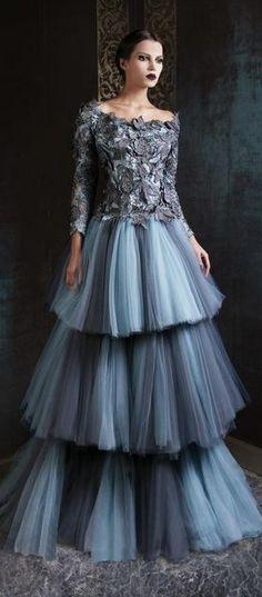Rami Kadi 2012/2013. Couture gown.  Smoky blue and gray.  Three tulle layers for skirt.  Ice princess.
