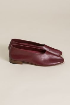 Leather Glove Flats, Burgundy by Martiniano