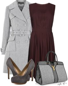 """""""Gray and Wine"""" by styleofe on Polyvore"""