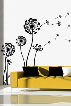 Flowering Dandelion wall decal by WALLTAT.com