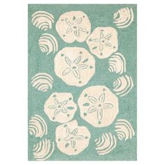 Shop Trans Ocean  FTP Frontporch Aqua Shell Toss Area Rug at ATG Stores. Browse our outdoor rugs, all with free shipping and best price guaranteed.