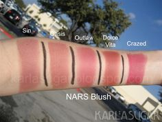 nars blushes - sin, oasis, outlaw, dolce vita, crazed