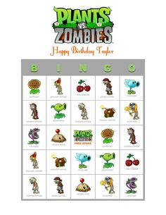 Plants vs Zombies Game Personalized Birthday Party Game Activity Bingo Cards Delivered by Email