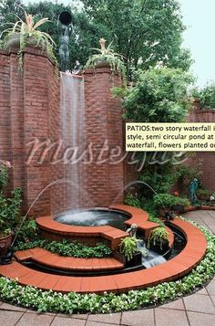 PATIOS:two story waterfall in the Art Deco style, semi circular pond at the base of the waterfall, flowers planted on the circle