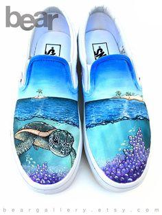 Custom Vans Shoes Hand Painted Sea Turtle Coral Islands