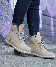 Timberland Off White- OR- Women Padded Collar Ankle Lace Up Boots Bootie  Trends… a205a78f39