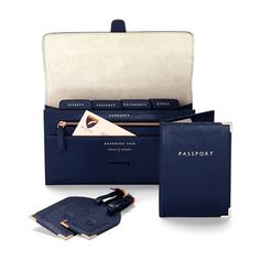 Classic Plain Travel Collection in Navy Lizard & Cream Suede from Aspinal of London