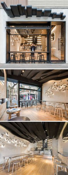 Love the wooden sun shade over head.   10 Unique Coffee Shops In Asia / Alberto Caiola designed Fumi Coffee, a cafe in Shanghai, China, designed to draw people into it by grabbing their attention with a sculptural ceiling that flows from the outside all the way to the back of the cafe and was inspired by the aromatic vapors of coffee.