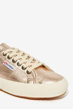 Superga Cotu Leather Sneakers - Metallic Croc - Shoes   Flats