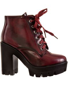 Riot Girl Lug Sole Platform Boots in Claret http://www.modandretro.com/riot-girl-lug-sole-platform-boots-in-claret/