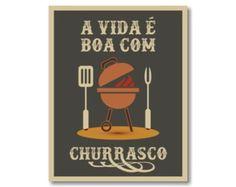 Placa MDF Retrô Vida Boa Churrasco - 809