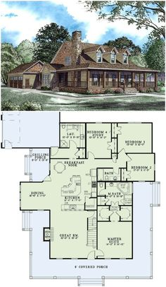 2173 sq. ft country house plan with wrap around porch and upstairs bonus room. (affiliate link)