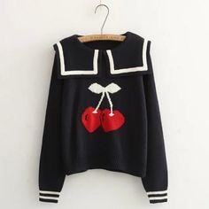 cherry sweater| discount: okaywowcool  kawaii neogal gyaru otome kei vintage fachin seifuku cherry fruit food sweets sweater top storenvy discount cutey