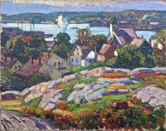 """View from East Gloucester,"" W. Lester Stevens, ca. 1923, oil on canvas, 14 x 18"", James B. Hand Fine Art."