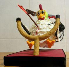 Cake Design By Serras - Ataque da Galinha Zombie, Voadora  Massa de Pão de Ló Recheio de Ovos Moles