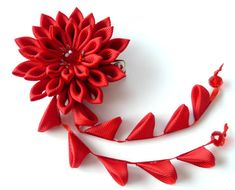 Red Kanzashi Fabric Flower hair clip with falls. Red door JuLVa
