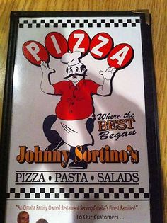 Johnny Sortino's Pizza / 7880 L St, Ralston, NE.  This sign was designed by my dad who was one of the first commercial artists at Omaha Neon Sign Co.