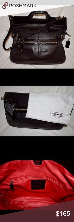 Coach black crossbody. Versatile crossbody. Leather hobo bag with handles. Gently used but in really great condition. Silver-toned hardware. Comes with dust bag. No trades, please. Offers welcome! Coach Bags Crossbody Bags