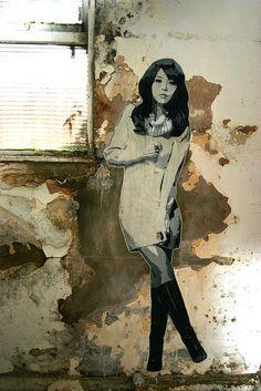 China girl lifesize stencil, via Flickr. #streetart jd