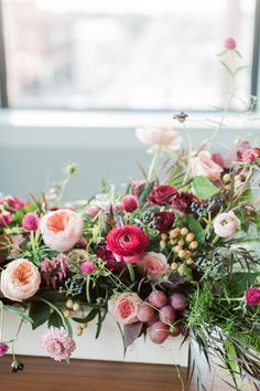 Styled Shoot from Jordan Brittley Photography and featured on Grey Likes Weddings. #lush #centerpieces #brightblooms