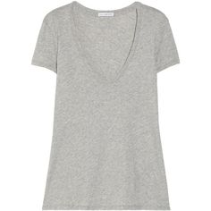 James Perse Relaxed stretch-cotton jersey T-shirt ($100) ❤ liked on Polyvore featuring tops, t-shirts, shirts, grey, short sleeved, t shirts, short sleeve tops, relax t shirt, relaxed fit t shirt and short sleeve shirts