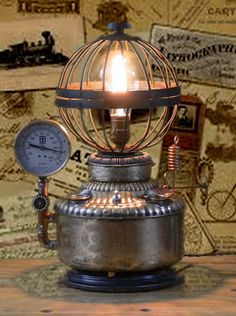 Steampunk, Lamp, Gears, Gauges, Pipes, Fuel Tank, Lighting, Perfection Stove, Kerosene, MasterGreig - MG-037