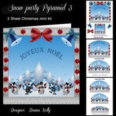 Snow party version 23 on Craftsuprint designed by Donna Kelly - Snow party pyramid card front, cute family card, Includes pyramid layers and decoupage, Approx. 7x7 card front sentiment: Joyeux Noel - Now available for download!