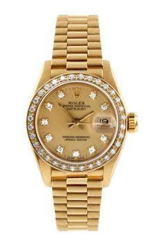 Vintage Rolex Women's 18K Yellow Gold Diamond Datejust President Watch