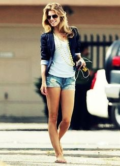 blazer and jean shorts