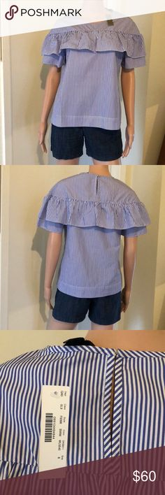 J.Crew Edie Top J.Crew Edie top in shirting stripe Navy and white  100% cotton  NWT attached  Never worn J. Crew Tops