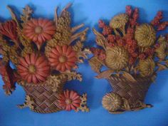 Fall Flower Wall Plaques  Vintage 70's Set of by SevenSistersBooks