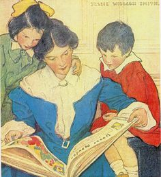 Jessie Willcox Smith. mother reading with her children
