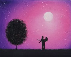 Silhouette Couple Painting, Starry Night Silhouette Art, 8 x 10 .