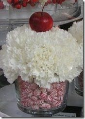cupcake flower arrangements with mints. Is it Christmas yet?