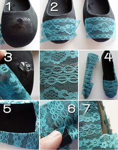 Cover shoes with lace