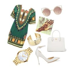 """""""African Inspired✨"""" by tisymo101 on Polyvore featuring Jimmy Choo, Movado, Belk Silverworks, Prada and MANGO"""