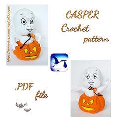 PATTERN: Casper amigurumi crochet pattern Casper and pumpkin Amigurumi Toys, Amigurumi Patterns, Crochet Patterns, Handmade Art, Handmade Dolls, Etsy Handmade, Handmade Gifts, Unique Gifts, Halloween Gifts