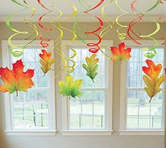 Add these festive Fall swirl leaves hanging from ceilings, doorways and more! Ea… Add these festive Fall swirl leaves hanging from ceilings, doorways and more! Each package contains six – leaf danglers and six green, gold and red twirls. Autumn Crafts, Autumn Art, Autumn Leaves, Red Leaves, Harvest Crafts, Fall Arts And Crafts, Diy And Crafts, Crafts For Kids, Paper Crafts