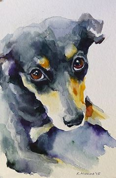 Watercolor animals · daily paintworks - - original fine art for sale - © katya minkina Art Watercolor, Watercolor Animals, Contemporary Abstract Art, Fine Art, Dog Portraits, Animal Paintings, Dog Art, Painting & Drawing, Art Drawings