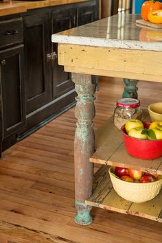 Reclaimed wood and worn paint establish this kitchen's been-there-forever style. The homeowners scoured lumberyards for rustic No. 2 red-oak boards so that they could patch the floor seamlessly.