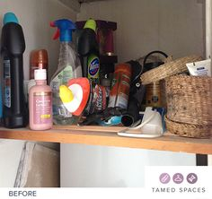 Tamed Spaces de-clutters this bathroom cupboard in under 60 minutes showing the before, during and after process. Next step is to organise! Declutter, Cupboard, Spaces, Bathroom, Clothes Stand, Washroom, Armoire, Crockery Cabinet, Full Bath