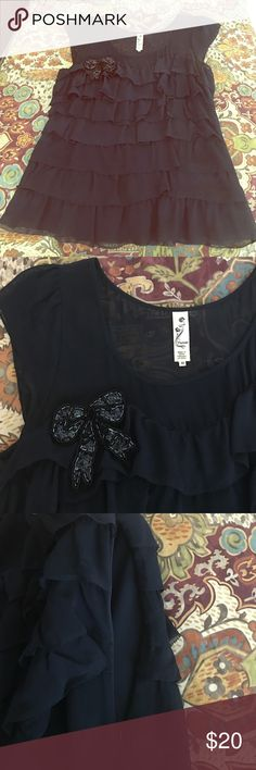 Anthro Silk blouse with sequin bow detail Rich navy with chiffon at top and tiers.  100% silk. Side zip.  Small snag on back, right shoulder shown in 4th pic. This top looks even better in person! Anthropologie Tops