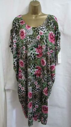 6664e64a6a Lagenlook Women Dress Green Floral Key Hole Back New One Size 14 16 18 20