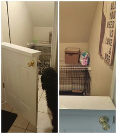 DIY Dogs room. Cut a door in half and they have their space but they still can see into the house. :) This was the space under the stairs...
