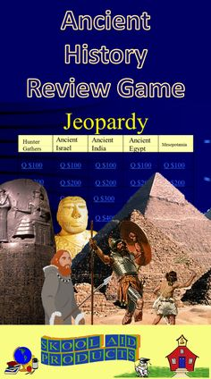 Ancient History Review Game #1--Hunter Gatherers, Mesopotamia, Ancient Israel, Ancient Egypt, and Ancient India--Starting a new year and want to refresh your students' memories about what they previously learned in history? Want to review for the end of the year test? Want to fill those last few days of class, with an exciting competition? This is the product for you!