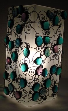 teal and magenta wire whimsy lamp