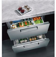 Under worktop fridge drawers